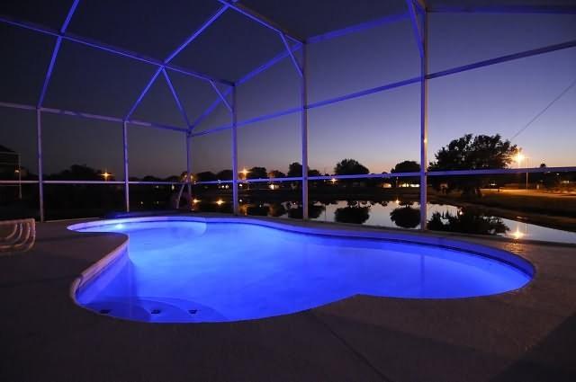 multi coloured pool lights