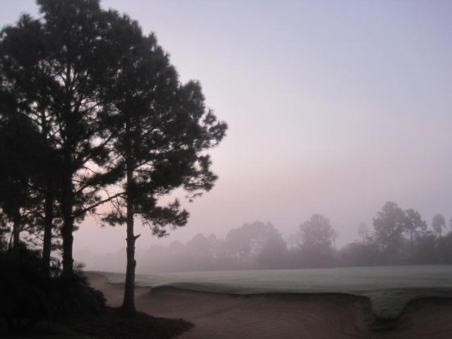 Dawn over golf course