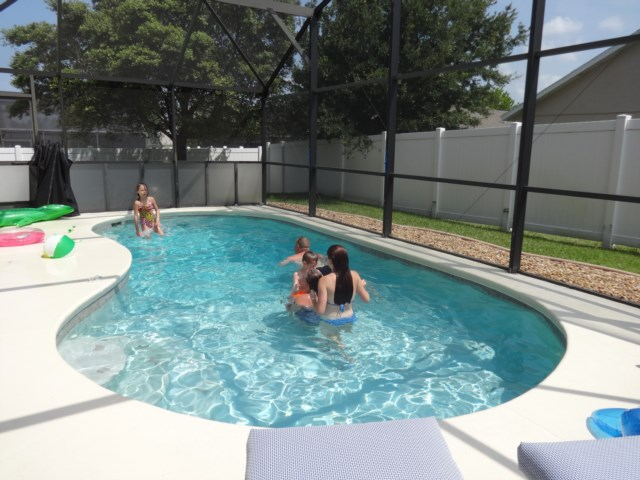Family fun in secluded pool
