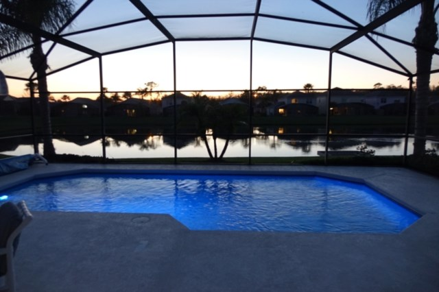 Pool and lake in the evening