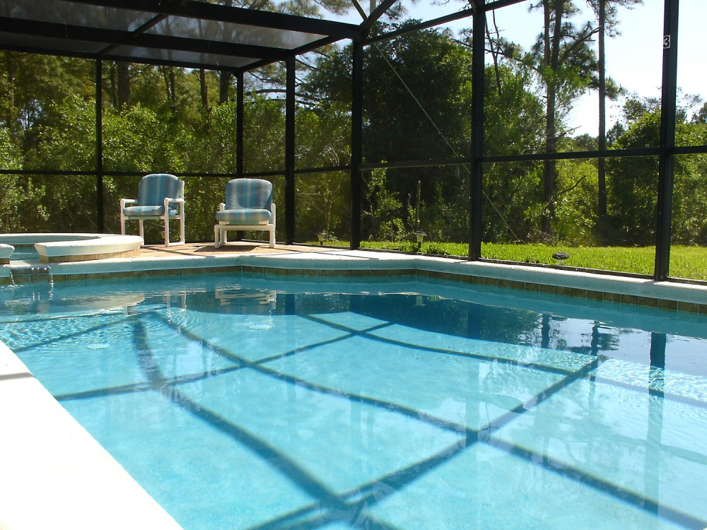 Unoverlooked pool and Spa